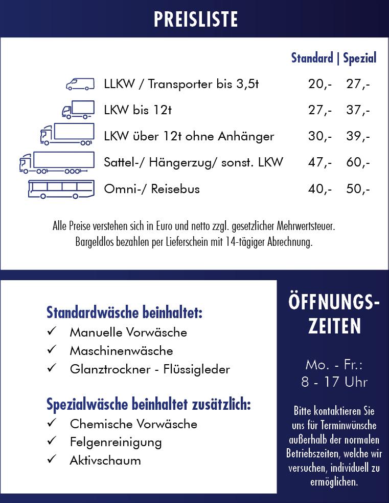 LKW Waschanlage Bamberg Preisliste Hallstadt